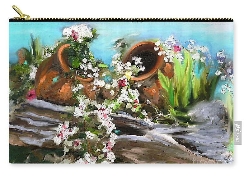Happy Valentine Carry-all Pouch featuring the painting Happy Valentines by Aline Halle-Gilbert