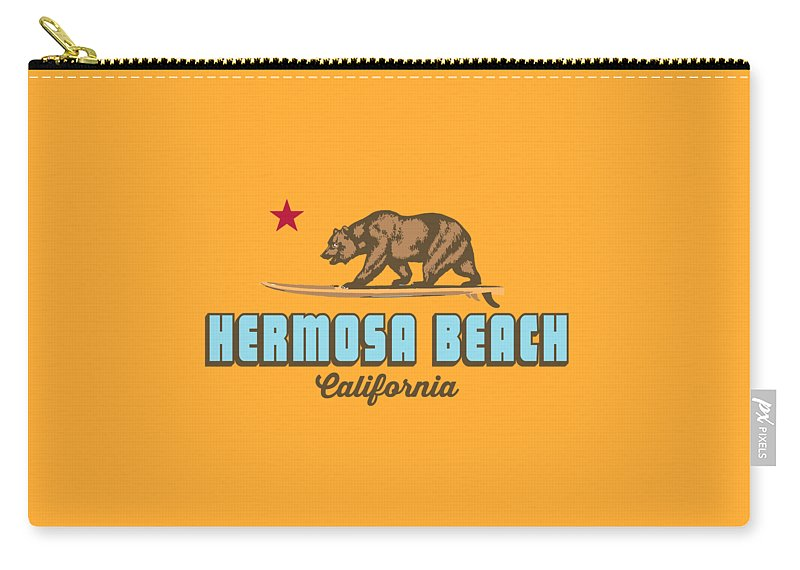 Hermosa Beach Carry-all Pouch featuring the digital art Hermosa Beach. by American Roadside