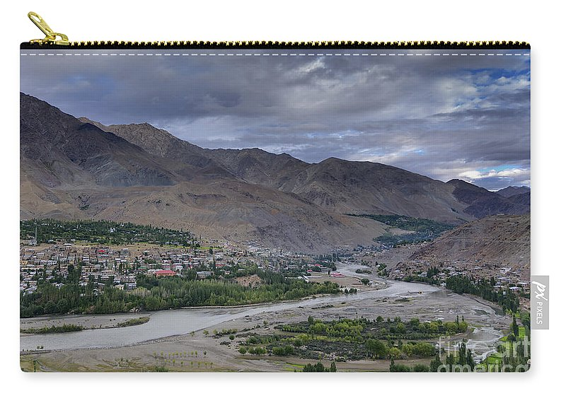 Top Carry-all Pouch featuring the photograph Indus River And Kargil City Leh Ladakh Jammu Kashmir India by Rudra Narayan Mitra