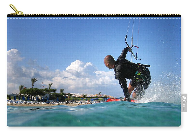 Adventure Carry-all Pouch featuring the photograph Kitesurfing by Stelios Kleanthous