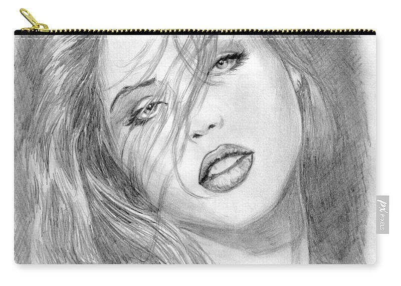 Girl Carry-all Pouch featuring the drawing 3 by Kristopher VonKaufman