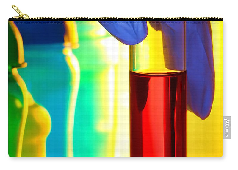 Bottles Carry-all Pouch featuring the photograph Laboratory Test Tube In Science Research Lab by Olivier Le Queinec