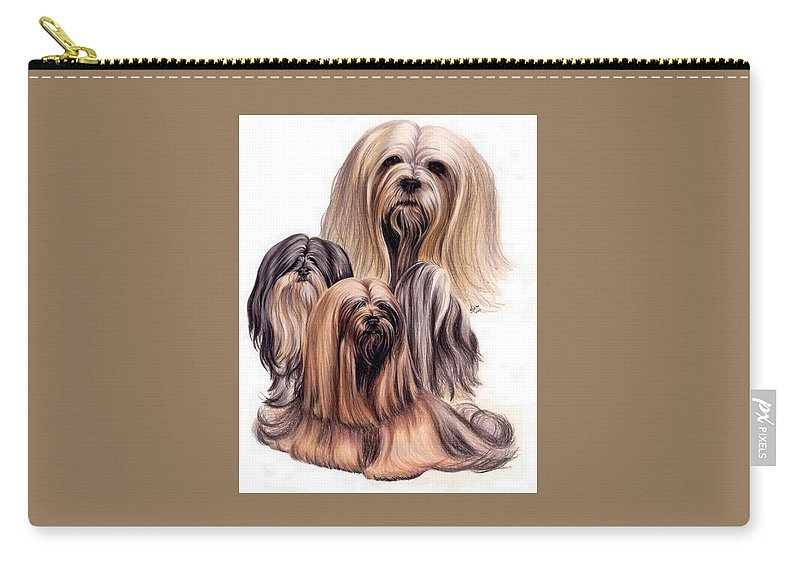 Purebred Carry-all Pouch featuring the drawing Lhasa Apso Triple by Barbara Keith