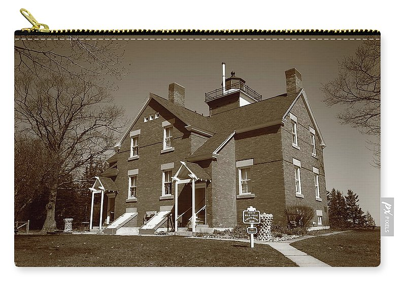 40 Carry-all Pouch featuring the photograph Lighthouse - 40 Mile Point Michigan by Frank Romeo