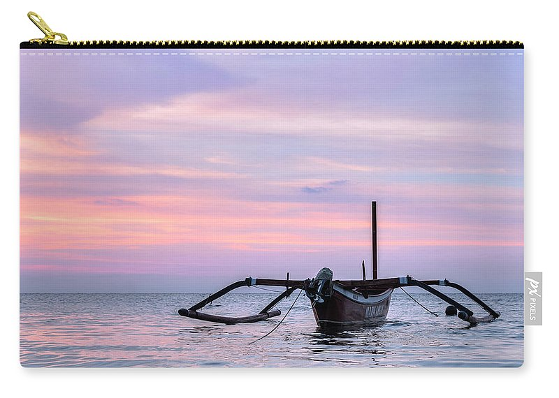 Jukung Carry-all Pouch featuring the photograph Lovina - Bali by Joana Kruse