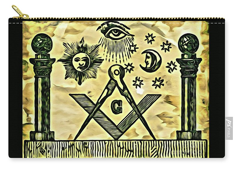 Freemason Carry-all Pouch featuring the digital art Masonic Symbolism Reworked 3 by Pierre Blanchard