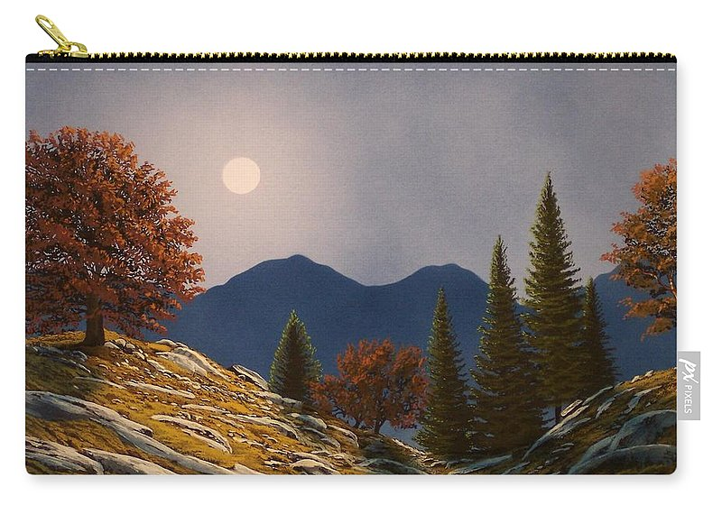 Landscape Carry-all Pouch featuring the painting Mountain Moonrise by Frank Wilson