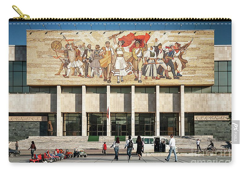 'the Albanians' Carry-all Pouch featuring the photograph National Historical Museum Landmark And Mosaic Mural In Tirana A by Jacek Malipan