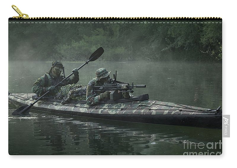 Special Operations Forces Carry-all Pouch featuring the photograph Navy Seals Navigate The Waters by Tom Weber