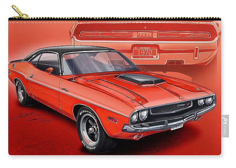 Dodge Challenger 1970 R/t Carry-all Pouch featuring the digital art Dodge Challenger 1970 R/t by Etienne Carignan