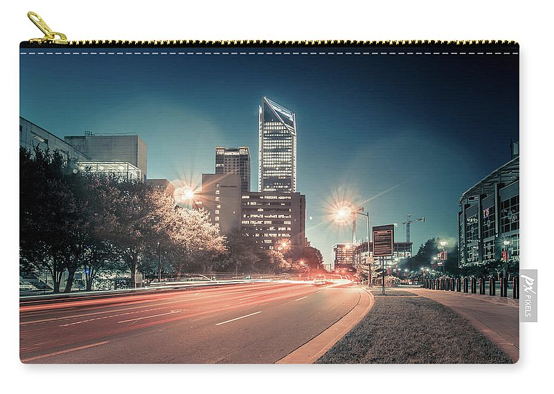 View Carry-all Pouch featuring the photograph November, 2017, Charlotte, Nc, Usa - Early Morning In The City O by Alex Grichenko