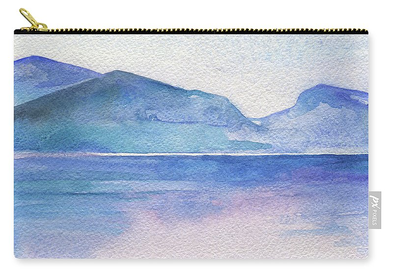 Abstract Carry-all Pouch featuring the painting Ocean Watercolor Hand Painting Illustration. by Katya Ulitina