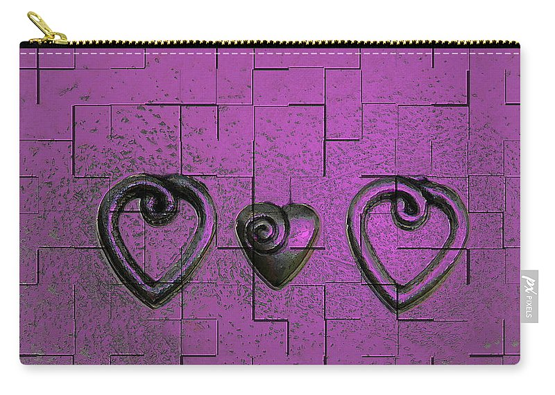 Abstracts Pink Purple Carry-all Pouch featuring the photograph 3 Of Hearts by Linda Sannuti