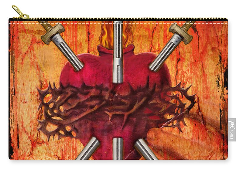 Tarot Carry-all Pouch featuring the digital art 3 Of Swords by Tammy Wetzel