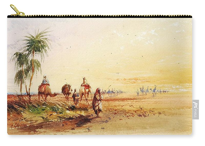 Thomas Hartley Cromek (1809-1873) - On The Road To Thebes Carry-all Pouch featuring the painting On The Road To Thebes by Thomas Hartley