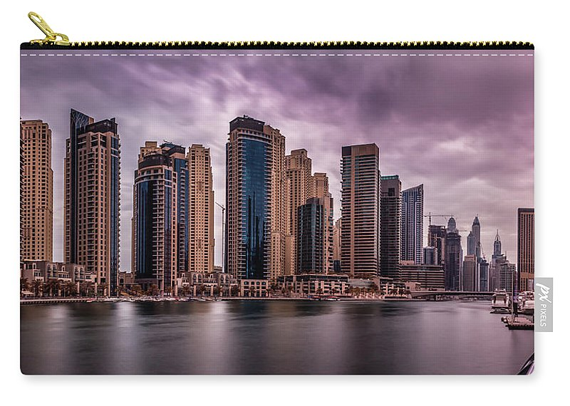 Dubai Carry-all Pouch featuring the photograph Panoramic View Of Dubai Marina by Mohammed Shamaa