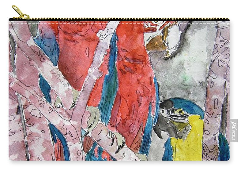 Bird Carry-all Pouch featuring the painting 3 Parrots by Derek Mccrea