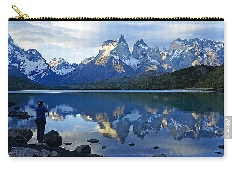 Patagonia Carry-all Pouch featuring the photograph Patagonia Reflection by Michele Burgess