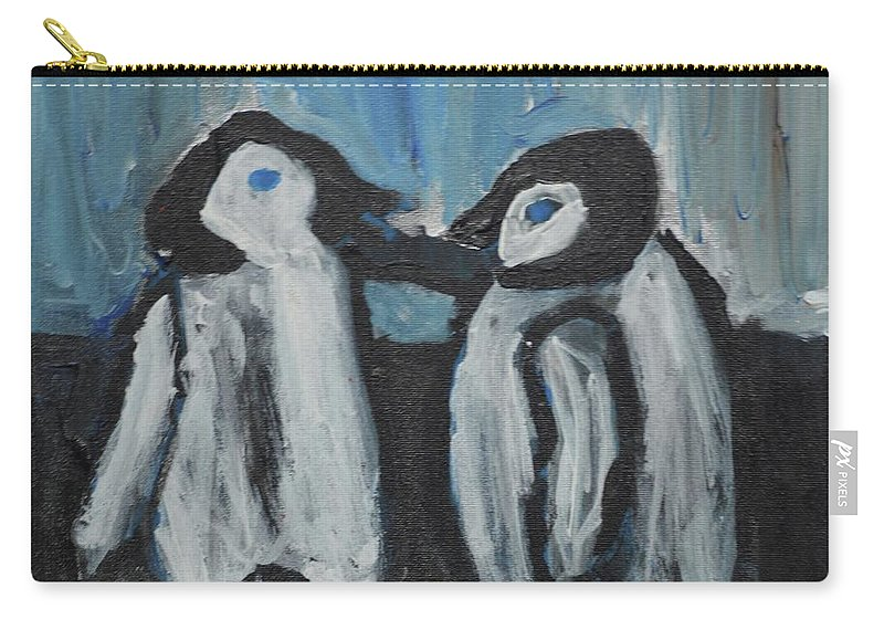 #penguins #art #fineart Carry-all Pouch featuring the painting Penguins by Aj Watson
