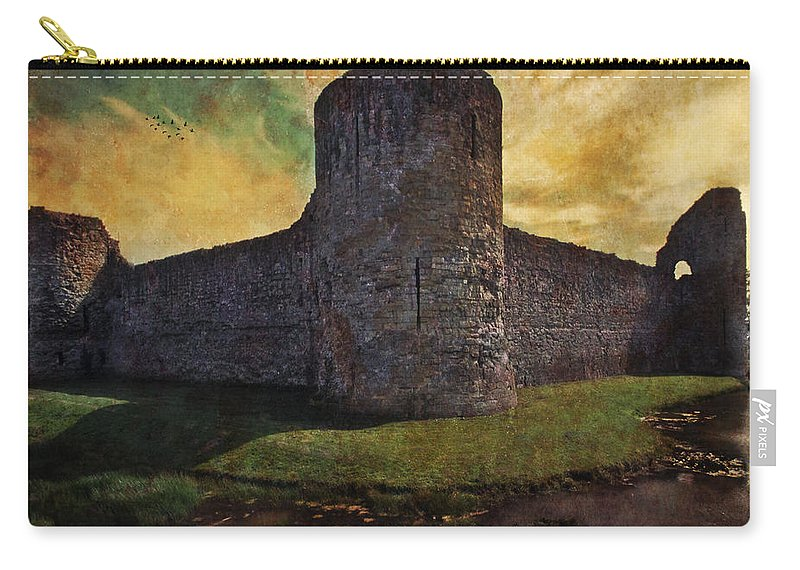 Castle Carry-all Pouch featuring the photograph Pevensey Castle Ruins by Chris Lord