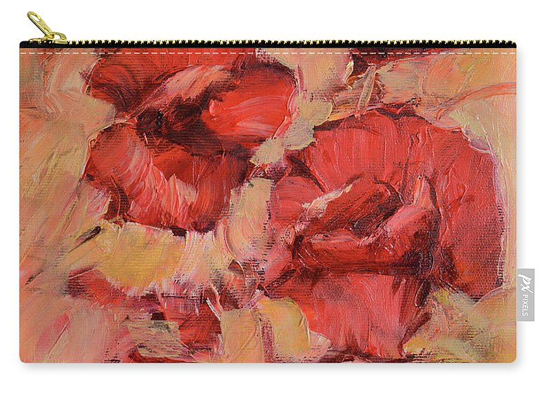 Isolated Carry-all Pouch featuring the painting Poppy Flowers Handmade Oil Painting On Canvas by Roman Ben