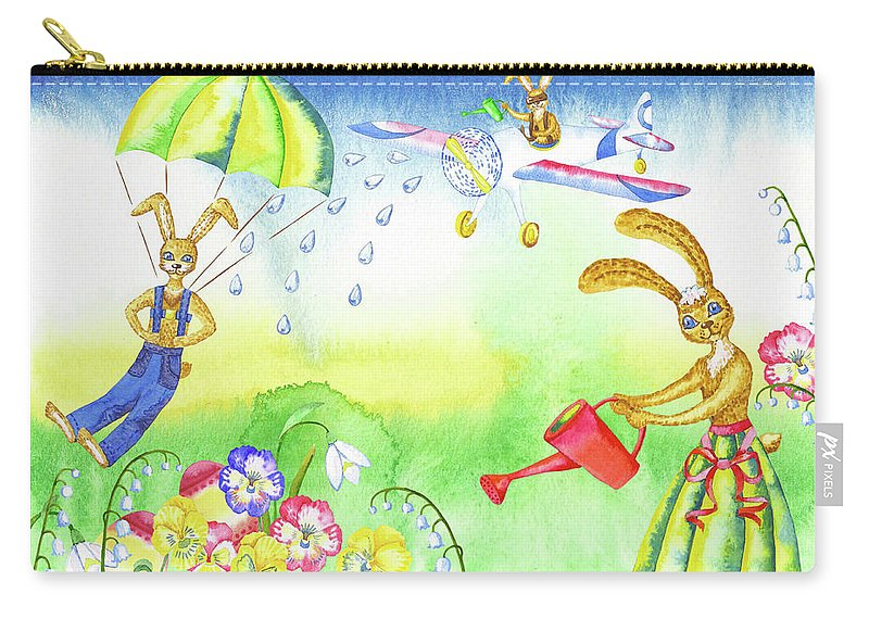 Lily Of The Valley Carry-all Pouch featuring the digital art Rabbits And Flowers by Natalia Piacheva