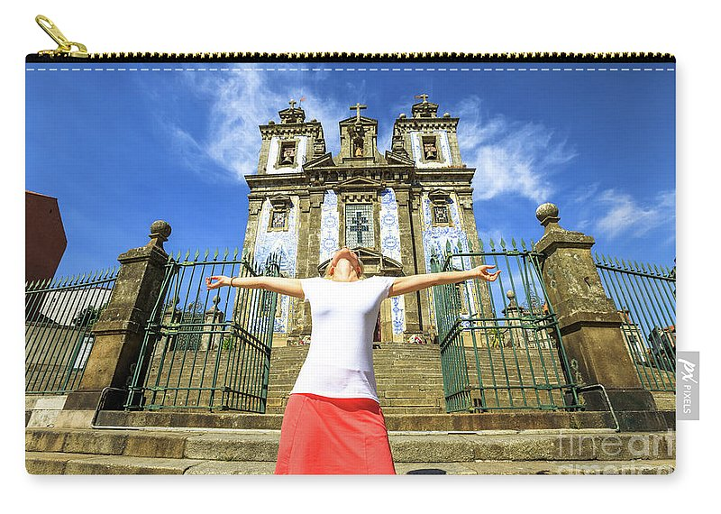 Porto Carry-all Pouch featuring the photograph Saint Ildefonso Church Enjoying by Benny Marty