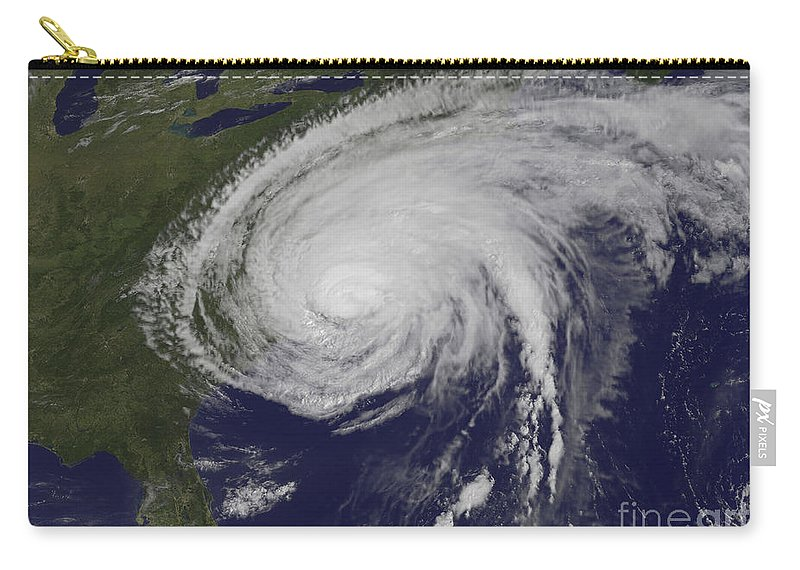 East Coast Carry-all Pouch featuring the photograph Satellite View Of Hurricane Irene by Stocktrek Images