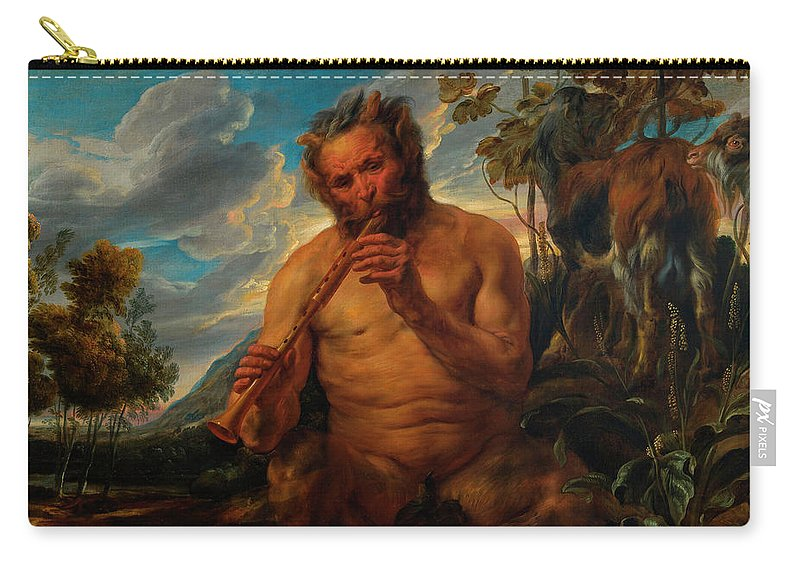Greek Mythology Carry-all Pouch featuring the painting Satyr Playing The Pipe by Jacob Jordaens