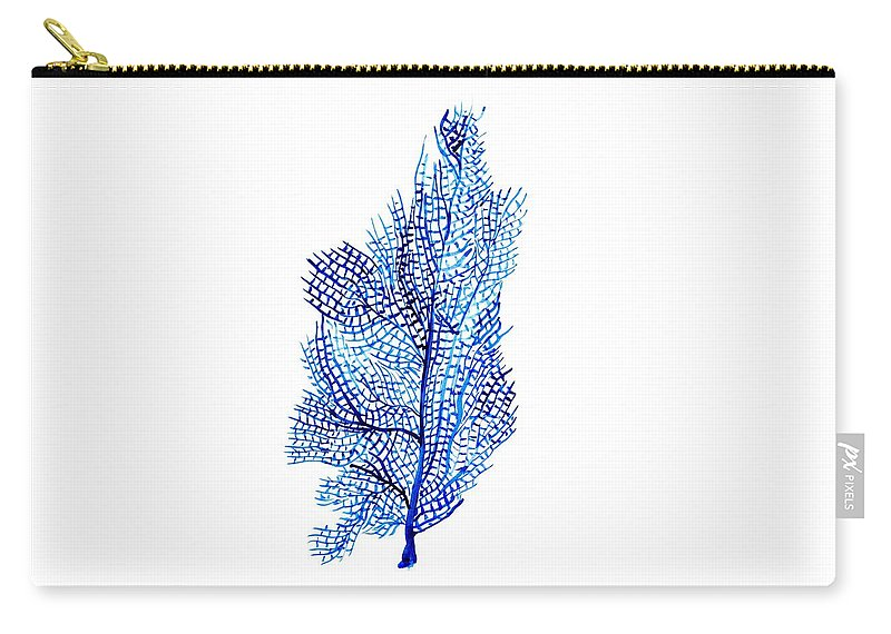 Blue Color Art Carry-all Pouch featuring the painting Sea Fan by Sweeping Girl