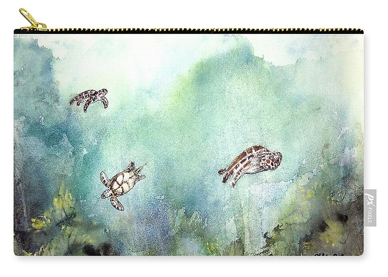Turtle Carry-all Pouch featuring the painting 3 Sea Turtles by Derek Mccrea