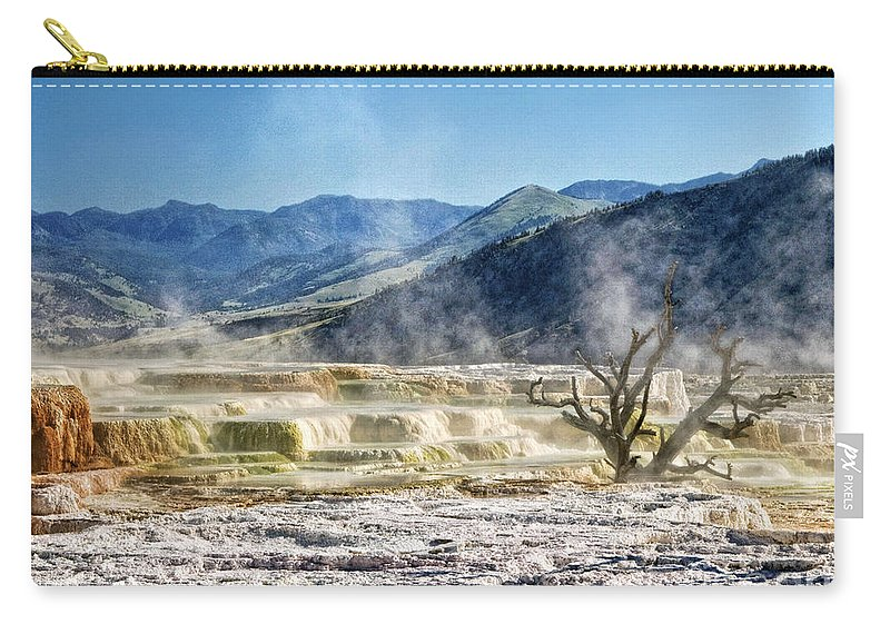 Mammoth Hot Springs Carry-all Pouch featuring the photograph Steaming by Claudia Kuhn
