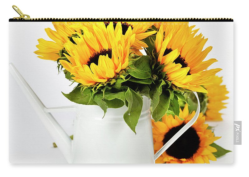 Sunflower Carry-all Pouch featuring the photograph Sunflowers by Natalia Klenova