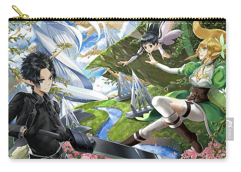 Sword Art Online Carry-all Pouch featuring the digital art Sword Art Online by Dorothy Binder