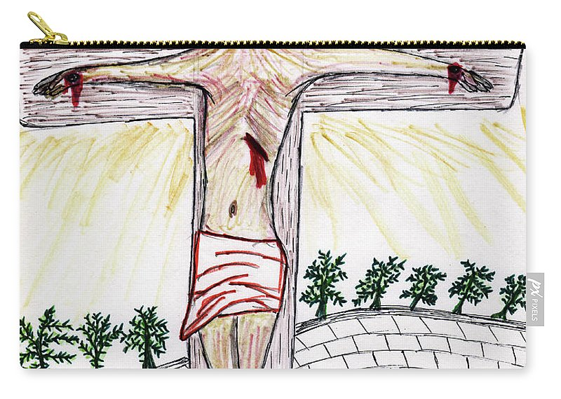 Jesus Carry-all Pouch featuring the drawing Thank God For Good Friday by Carl Deaville