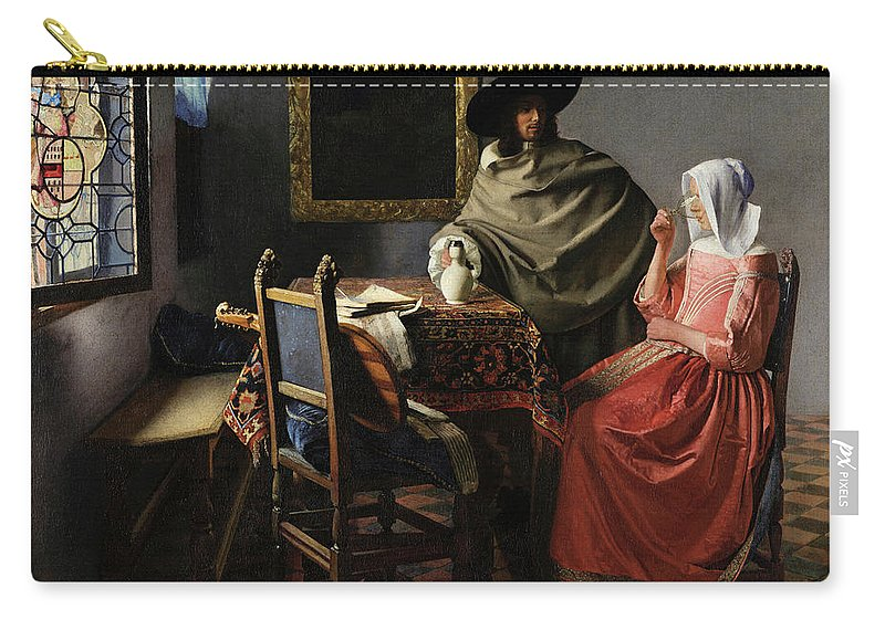 The Glass Of Wine Carry-all Pouch featuring the painting The Glass Of Wine by Johannes Vermeer