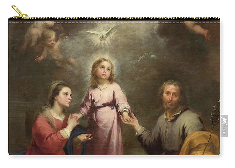 Christian Carry-all Pouch featuring the painting The Heavenly And Earthly Trinities by Bartolome Esteban Murillo