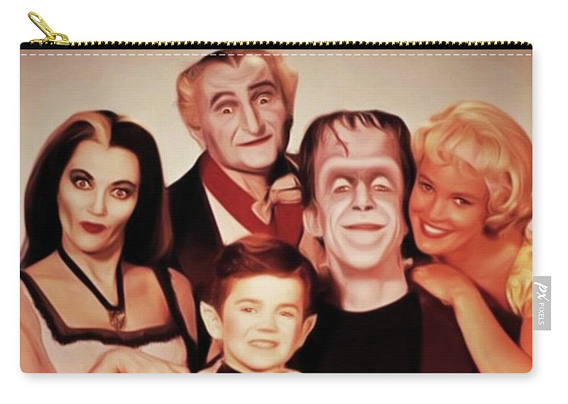 Munsters Carry-all Pouch featuring the digital art The Munsters by Mary Bassett
