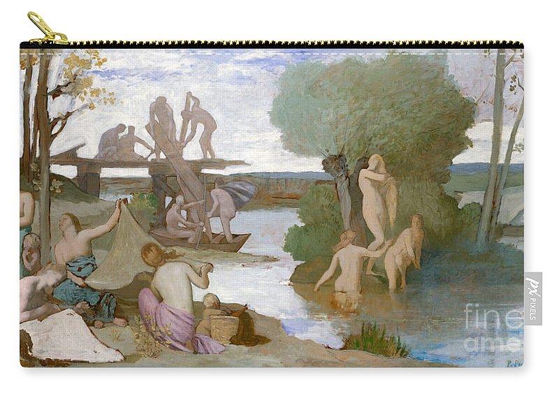 Puvis De Chavannes Carry-all Pouch featuring the painting The River by Pierre Puvis de Chavannes