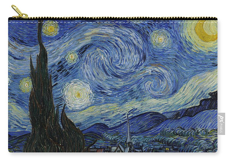 Vincent Carry-all Pouch featuring the painting The Starry Night by Vincent Van Gogh