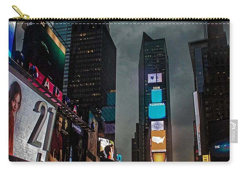 Times Square Carry-all Pouch featuring the photograph Times Square Nyc by Martin Newman