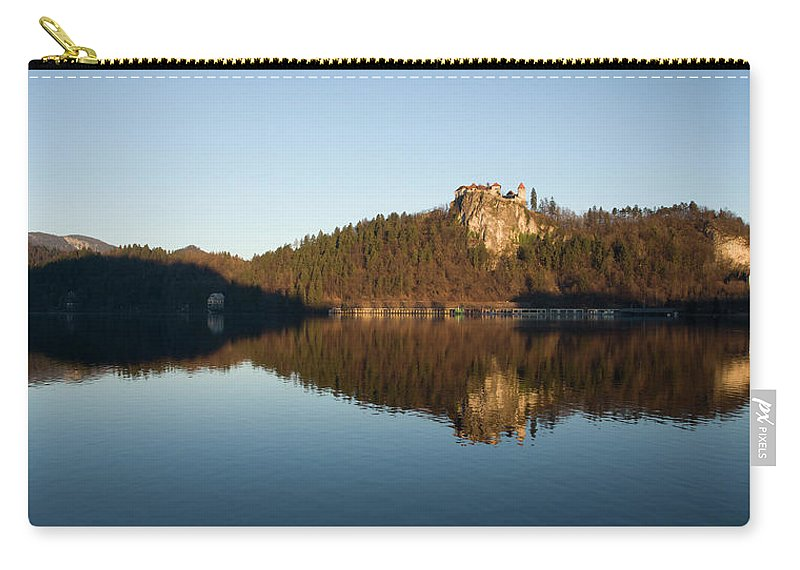 Bled Carry-all Pouch featuring the photograph View Across Lake Bled by Ian Middleton