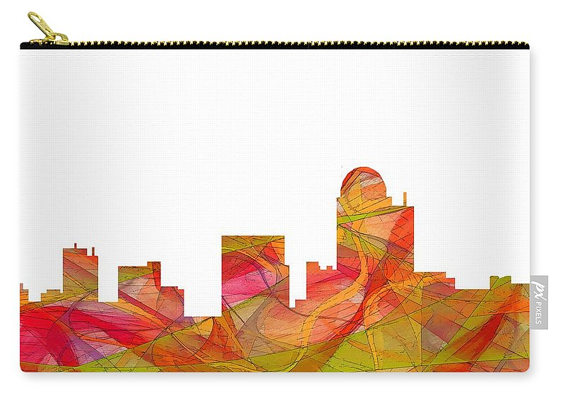 Winston-salem North Carolina Skyline Carry-all Pouch featuring the digital art Winston-salem North Carolina Skyline by Marlene Watson