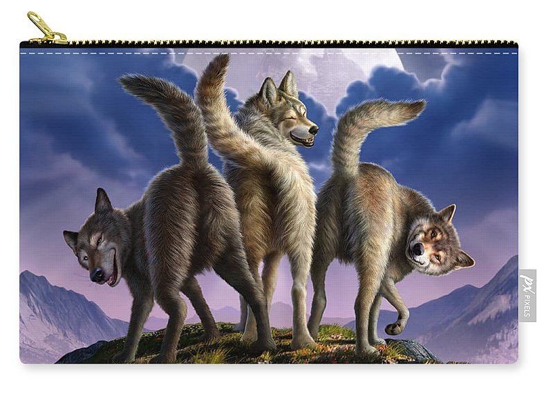 Wolf Carry-all Pouch featuring the digital art 3 Wolves Mooning by Jerry LoFaro