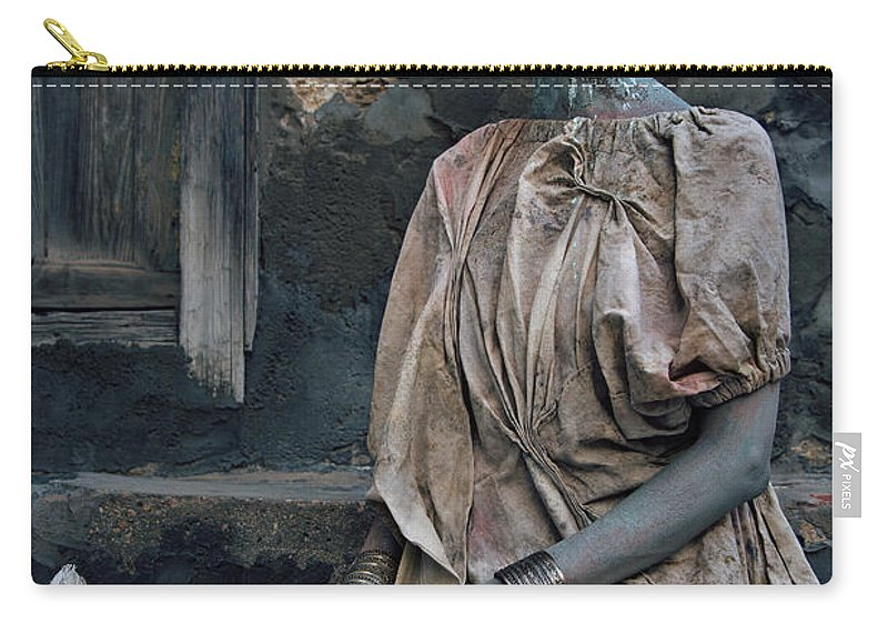 Antik Carry-all Pouch featuring the photograph Woman In Bronze Statue Look With Patina Body Paint by Veronica Azaryan