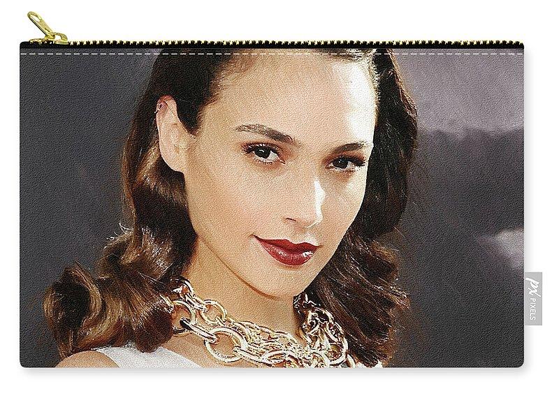 Gal Gadot Carry-all Pouch featuring the digital art Gal Gadot Art by Lilia Kosvintseva