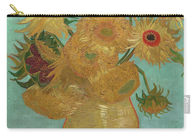 Vincent Van Gogh Carry-all Pouch featuring the painting Sunflowers by Vincent van Gogh