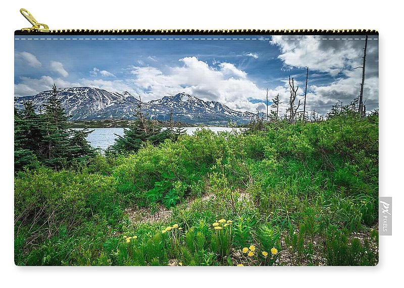 Road Carry-all Pouch featuring the photograph The White Pass And Yukon Route On Train Passing Through Vast Lan by Alex Grichenko