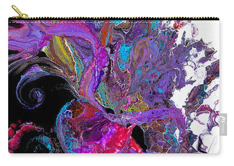 Colorful Airy Graceful Compelling Vibrant Abstract Organic Feeling Black White Purple Blue Spirals Carry-all Pouch featuring the painting #3118 Flaura by Priscilla Batzell Expressionist Art Studio Gallery