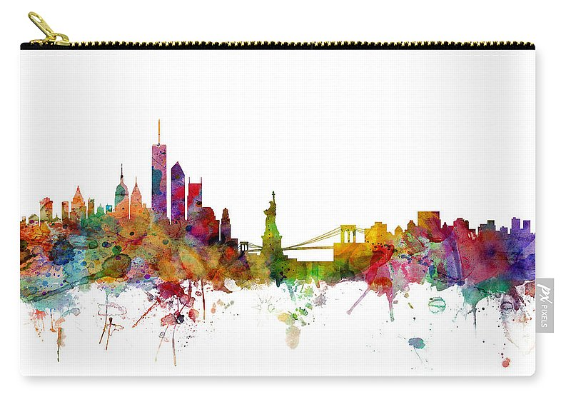 United States Carry-all Pouch featuring the digital art New York Skyline by Michael Tompsett